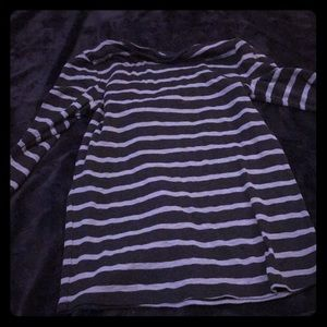 Navy blue and other blue striped long sleeve